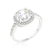 Halo Style Faceted Engagement Ring, size : 06