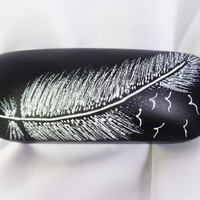 RESERVED FOR RUSLANA Glasses case Painted case Feather decor