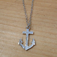 Tiny Silver Anchor Necklace   Candy's Cottage