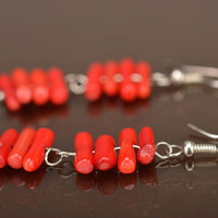 Handmade dangling earrings cute earrings with natural stones jewelry with corals