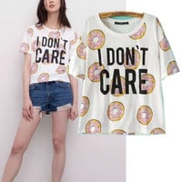 Women's Trending Popular Fashion 2016 Summer Beach Holiday Floral Printed Loose Round Necked Short Sleeve Alphabets Words T-Shirt _ 4259