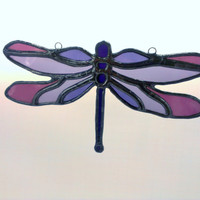 Dragonfly Stained Glass Purple Sun Catcher Free Shipping