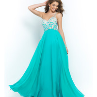 Seaglass Blue Beaded Ombre One Shoulder Open Back Chiffon Gown
