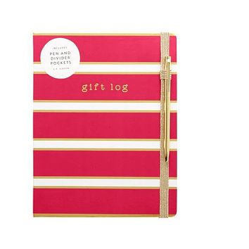 Red Stripe Gift Log with Pen