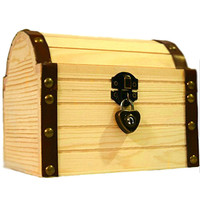 Lil' Genius Academy Wooden Box Secret Treasure Stash Chest With A Working Lock And A Pair Of Keys