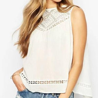White Cutout Lace Sleeveless Shirt