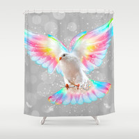 The Key is to Believe in the Impossible (Neon Wings Series III) Shower Curtain by soaring anchor designs ⚓