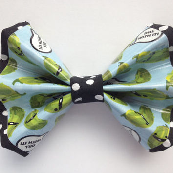 """Pickles """"Dill with It"""" Duct Tape and Fabric Hair Bow"""