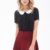 FOREVER 21 Pleated Peter Pan Collar Top Black/Cream