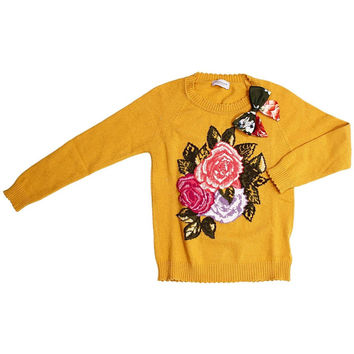 Monnalisa - Girls Warm Sweater With Roses and Bow - 4Y