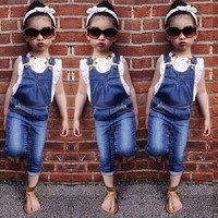 2015 New Autumn Summer Kids Baby Girl Clothing Sets Little Girls Clothes Set Overalls Toddler Girl Clothing christmans