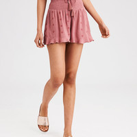 AE Embroidered Smocked Short, Peach