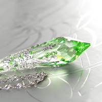 Peridot Green Necklace Sterling Silver Light Green Swarovski Crystal Necklace Pale Green Necklace Icicle