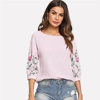 Flower Print Lantern Sleeve Striped Blouse Beach Ladies Shirts Fashion Blouses