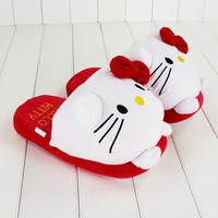 Cute Hello Kitty Cat Children's Winter Cotton Slippers Girls Carton Bowknot Home Slippers Shoes Slipper 27cm