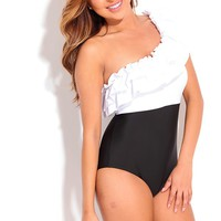 WHITE BLACK ONE SHOULDER RUFFLE TWO TONE ONE PIECE SWIMSUIT