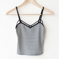 Striped Crop Cami Tank Top