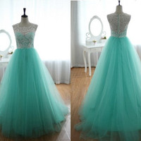 Lace Tulle Wedding Dress Prom Ball Gown Aqua Tulle Lace Dress Turquoise Sweetheart Dress Lace Prom Dress Lace Brideasmaid Dresse
