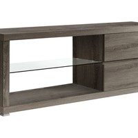 "Tv Stand - 60""L / Dark Taupe With Tempered Glass"