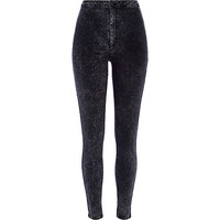 Black acid wash denim tube pants - skinny jeans - jeans - women