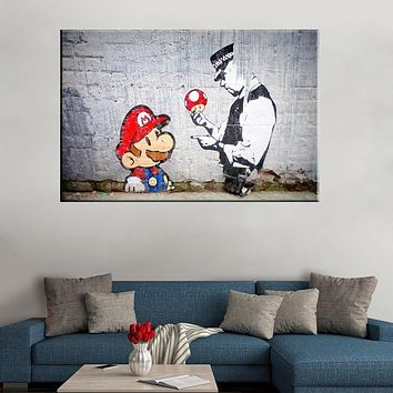 Banksy Graffiti Mario And The Cop Canvas Art Prints paintings wall art picture poster home decoration for living room|Painting & Calligraphy