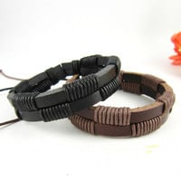 couple bracelet 2 color real leather bracelet women Leather Bracelet Men leather bracelet, boyfriend gift T075