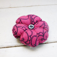 Fabric pincushion, pincushion for sale, pink pincushion, pink and black, button center, quilter's gift, sewing box, handmade pincushion