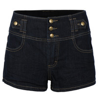 Womens High Waisted Sailor Nautical Denim Jean Shorts