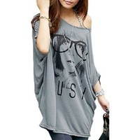 Allegra K Women's Batwing Sleeve Portrait Letters Print Front Tunic Shirt