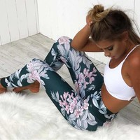 Green Floral Sports High Waisted Slim Long Pants