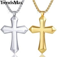 Trendsmax Polished Cross Pendant Necklace Boys Mens Chain Stainless Steel Round Box Link Gold Silver Tone KKPM130