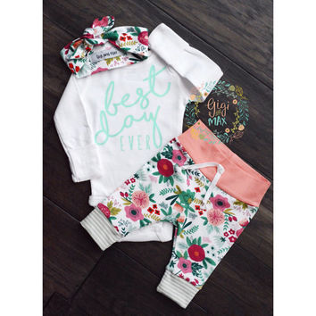 Baby girl coming home outfit best day ever Coral Floral theme hello world baby shower gift new baby set going home hospital outfit