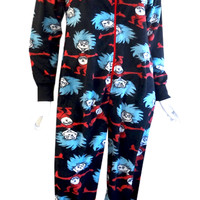 Dr Seuss Thing One & Thing Two Hooded Onesuit Footie Pajama
