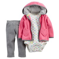 Carter's Heart Full-Zip Hooded Cardigan Set - Baby Girl, Size: