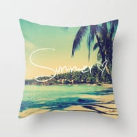 Kess InHouse Sylvia Cook Beach is My Happy Place-Coral Pink Typography Throw Pillow 16 by 16