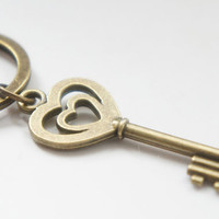 To Your Heart - Antiqued Brass Vintage Style Skeleton Key Key Ring - KR04