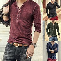2019 Men Tee Shirt V-neck Long Sleeve Tee&Tops Stylish Slim Button T-shirt Autumn Casual Retro Solid Male Clothing Plus Size 3XL