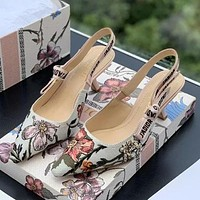 Dior CD noble sexy ladies cat heels bow letters pointed high heels