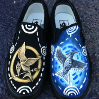 The Hunger Games Catching Fire,Mockingjay inspired Hand Painted Vans Shoes from Huntington West Virginia District 12