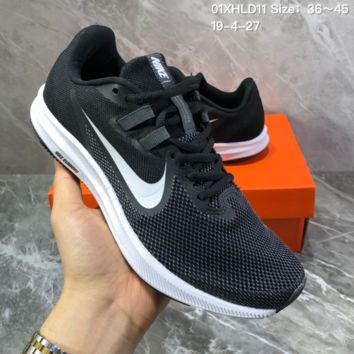 HCXX N1439 Nike Wmns Zoom Downshifter 9 mesh Breathable Running Shoes Black White