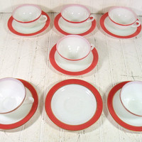 Retro Pyrex 6 Sets of Cups & Saucers Collection - Vintage Flamingo Pink and White KitchenWare GlassWare - 5 Pieces With Gold Trim Edging