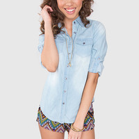 Let's Hang Out Denim Top