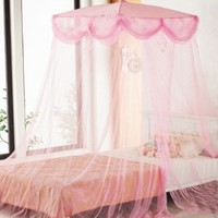 Pink Four Corner Square Princess Bed Canopy By Sid