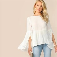 Solid Zip Back Split Sleeve Pleated Top Elegant Women White  Posh Flounce Sleeve Blouses