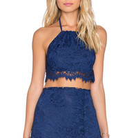 For Love & Lemons x REVOLVE Maui Waui Crop Top in Deep Navy
