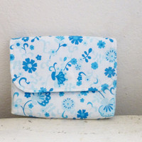 Fabric Wallet, women's wallet, women's gift idea, velcro or snap closure, ready to ship, white and blue wallet, floral print, cute accessory