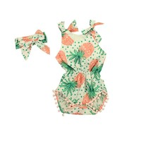 Pineapple Prints Baby Romper Vintage Baby Girls playsuit Floral printes Baby Swag Rompers with Headband baby girl clothes