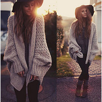 Dolman Sleeve Knit Top Sweater Cardigan Coat