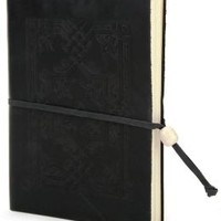 Embossed Black Leather Journal with Bead Tie