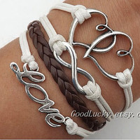 Telesthesia Lovers Bracelet --fashion silver 8 infinity wish and  loving heart, love brown and white wax rope braided leather bracelet